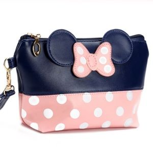 Minnie Mouse Blue & Pink Makeup Cosmetic Bag
